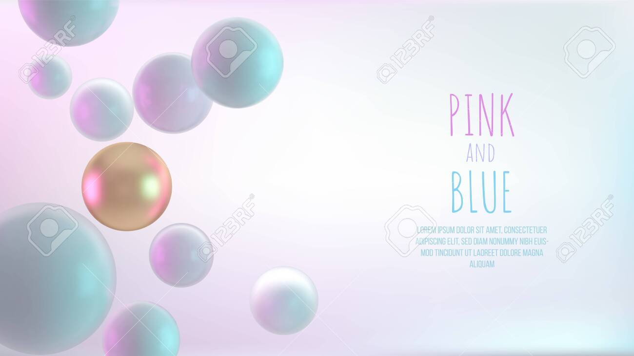 Multicolored decorative balls. Abstract 3d realistic vector illustration. Pearls close up with depth of field. - 135667017