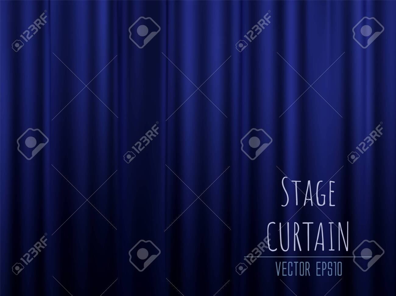 Dark empty stage with rich blue velvet curtain. 3d photo realistic vector illsuatrtion. - 138418071