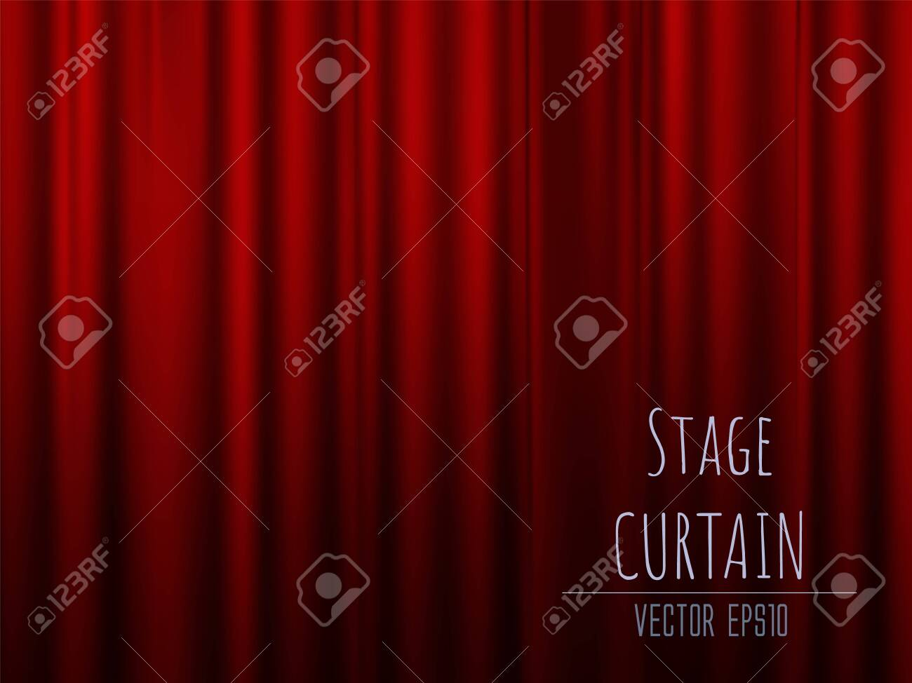 Dark empty stage with rich red velvet curtain. 3d photo realistic vector illsuatrtion. - 138418030