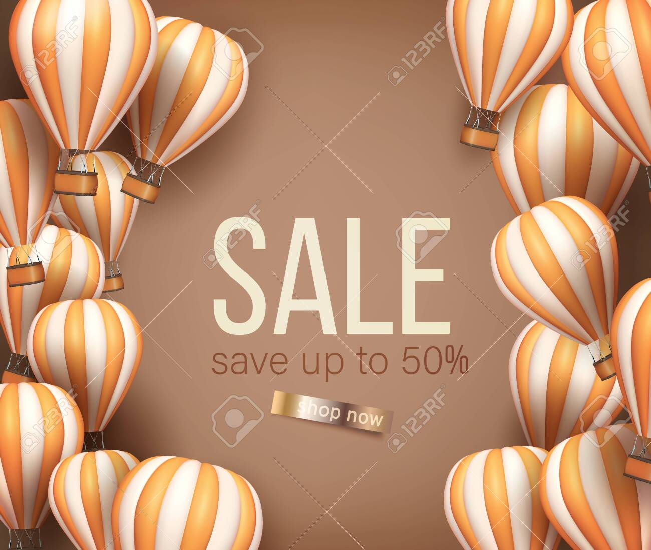 3d Realistic hot air balloon orange and beige color flyer or banner template for sale. Vector illustration - 141022828
