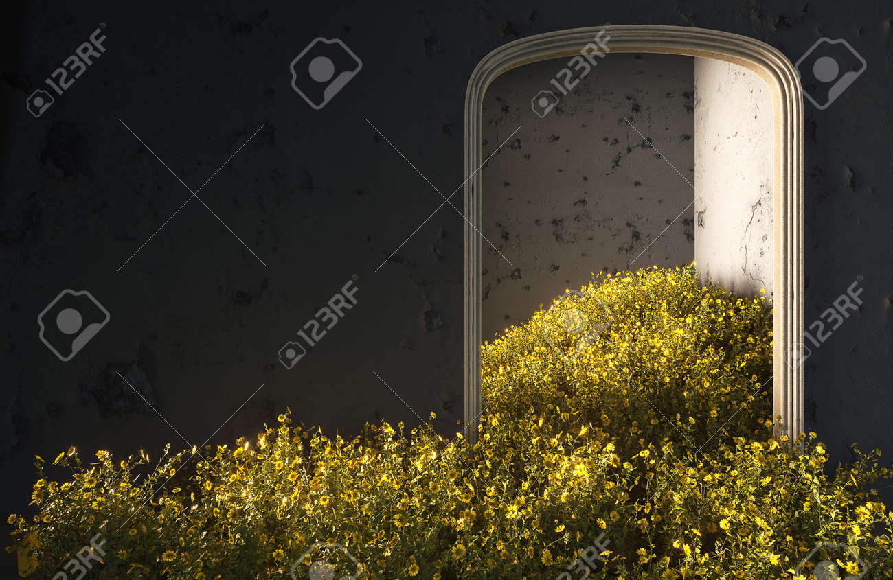 Wild field flowers fall in the room, abstract interior concept with copy space. 3d illustration - 167404363