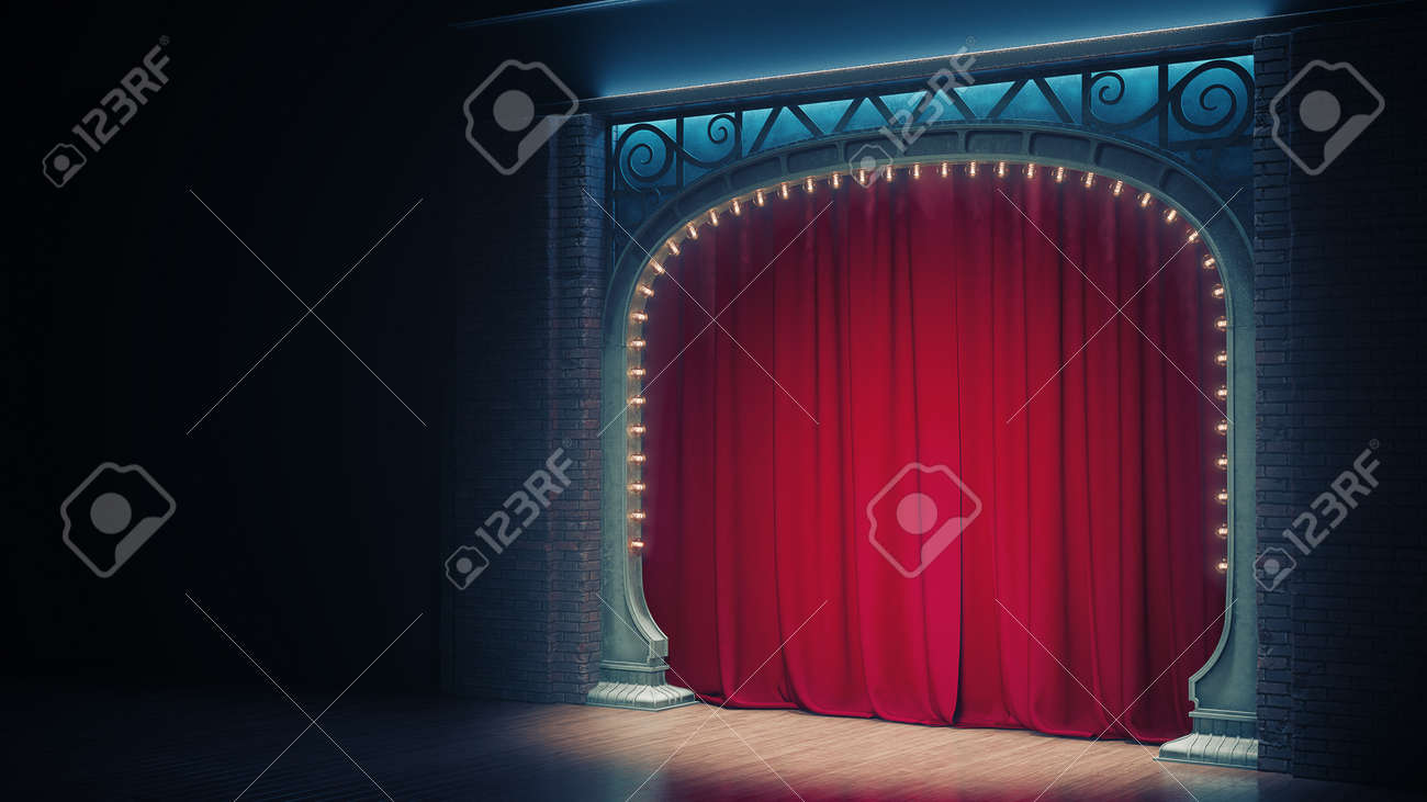 Dark empty cabaret or comedy club stage with red curtain and art nuovo arch. 3d render - 167404373