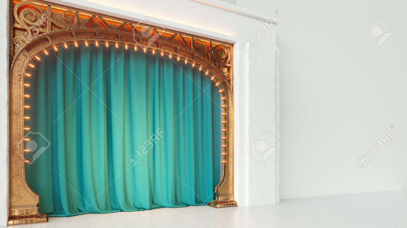 Bright white empty cabaret or comedy club stage with green curtain and art nuovo arch. 3d render - 167404377