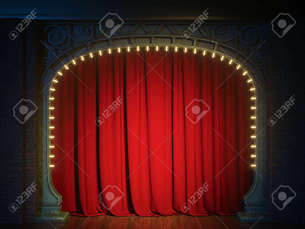 Dark empty cabaret or comedy club stage with red curtain and art nuovo arch. 3d render - 167404378