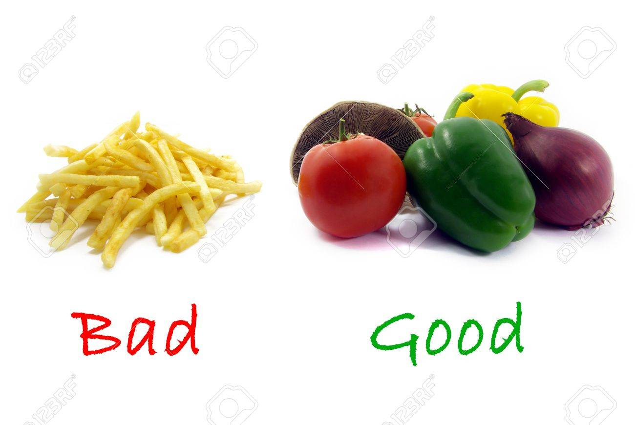 Illustration of a comparison between healthy food and unhealthy food. Stock Illustration - 3903473