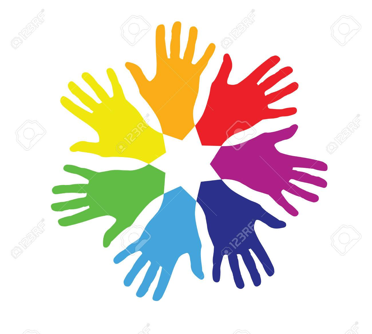 Colored Hands In A Circle Royalty Free Cliparts, Vectors, And Stock Illustration. Image 29854834.