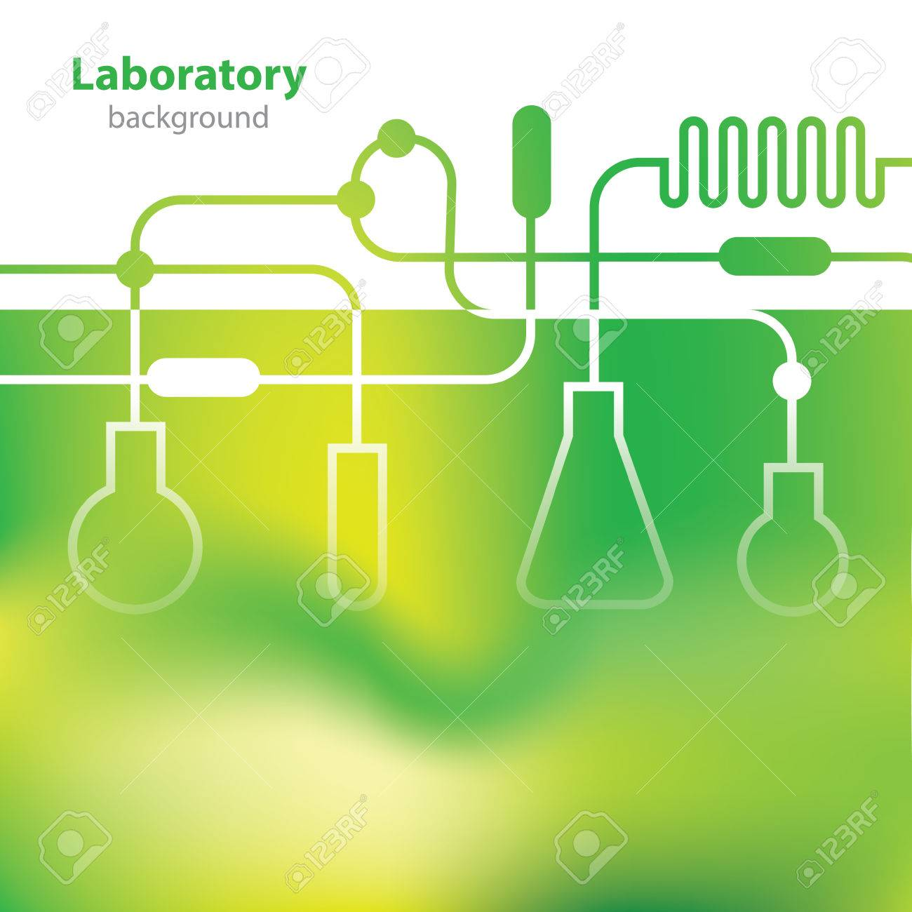 Science and Research - laboratory facilities - green background - 35981763