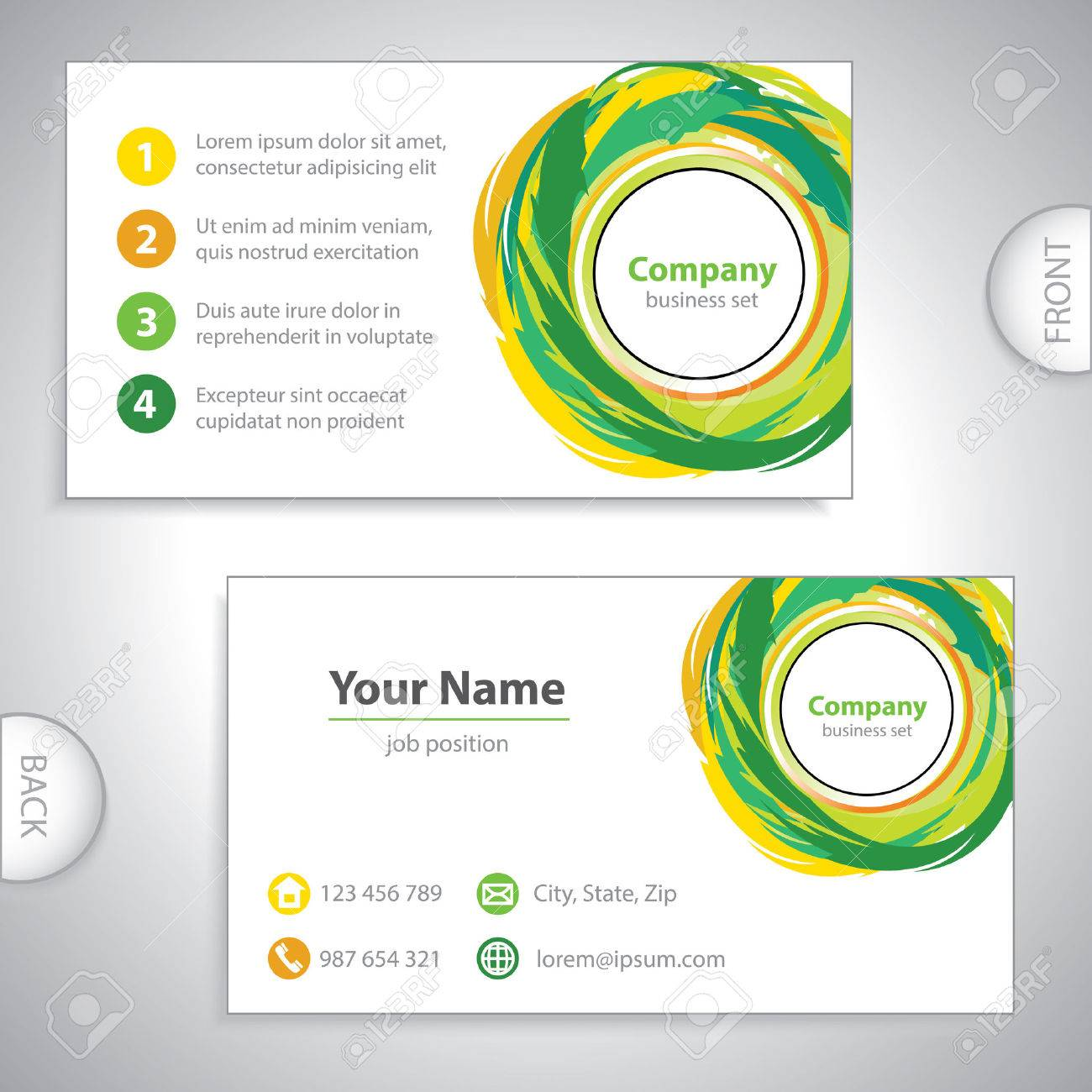 Business card recycling mix ecological variation yellow green business card recycling mix ecological variation yellow green version stock vector colourmoves