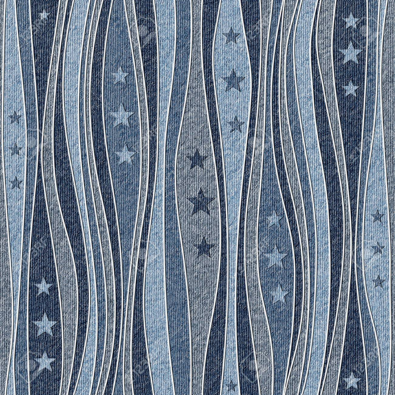 Abstract paneling pattern - Stars seamless pattern - blue jeans textile - 40378251