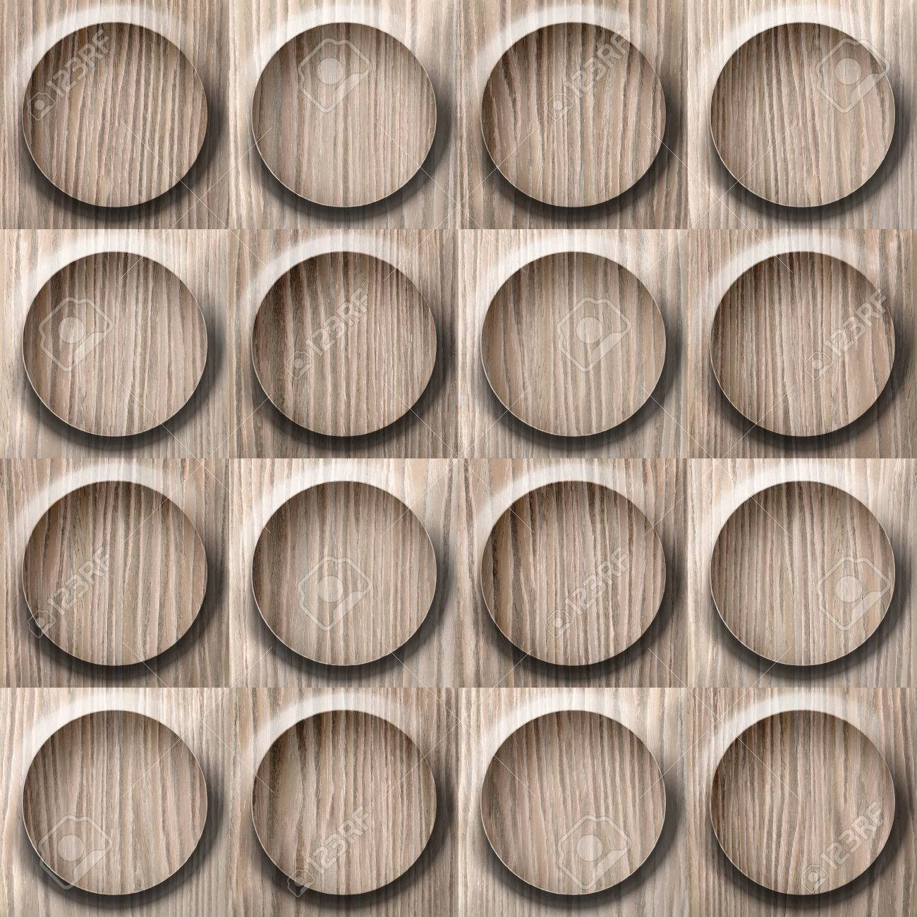 Wooden rounded abstract blocks stacked for seamless background - Blasted Oak Groove wood texture - 41307417