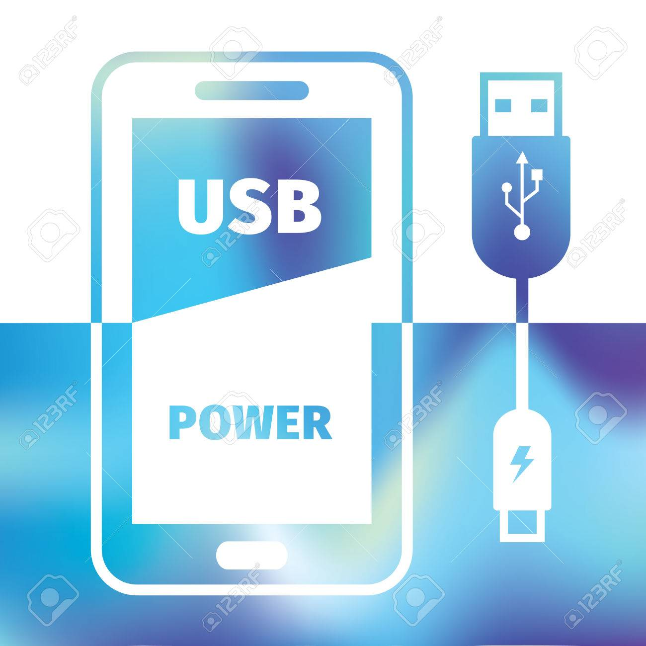 charging mobile phone - USB connection - symbol recharging energy - 42291636
