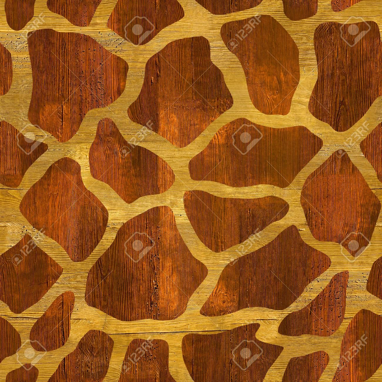 抽象的なキリン柄 シームレスな背景 木材表面 の写真素材 画像素材 Image