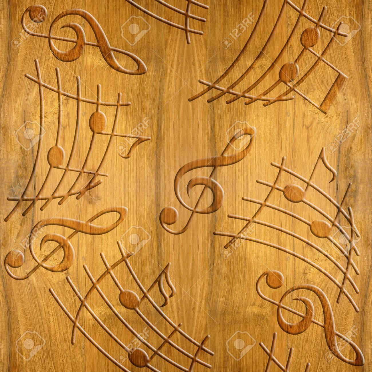 abstractos decorativos notas musicales textura de madera de cerezo de fondo sin fisuras