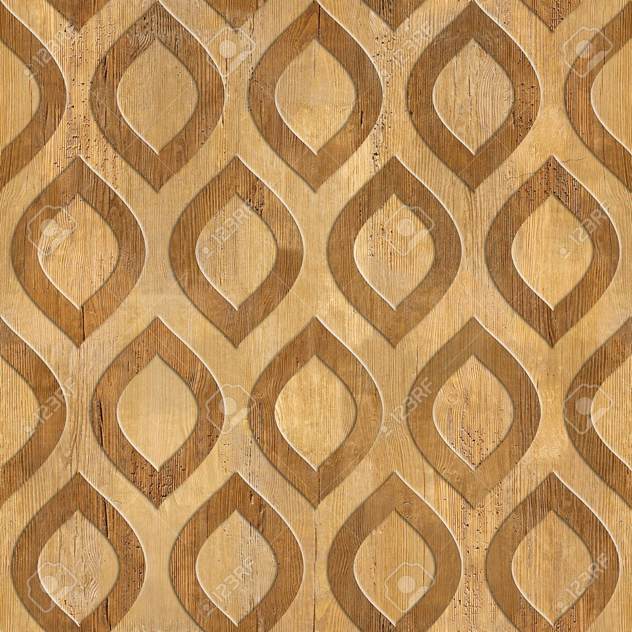 Oriental Decorative Pattern Wood Texture Seamless Background
