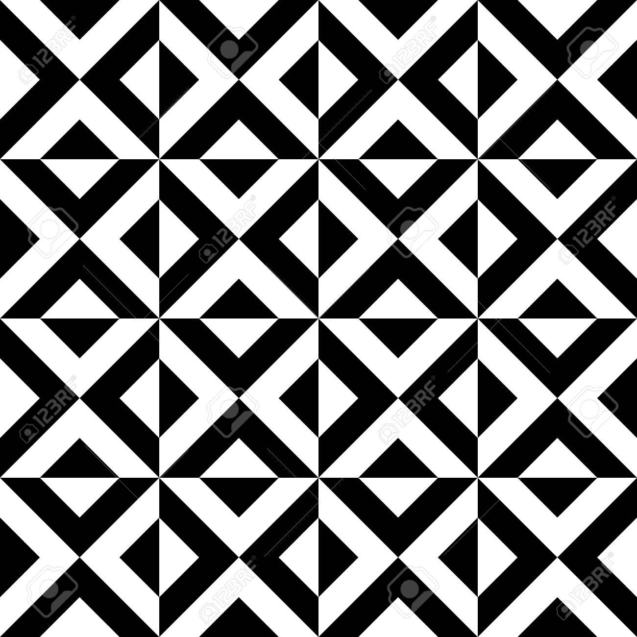 Arabic Geometric Patterns Decorative Black White Triangles