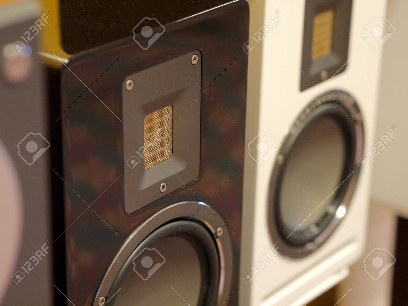 Stylish Speakers hi-fi stylish speakers. close-up view. stock photo, picture and