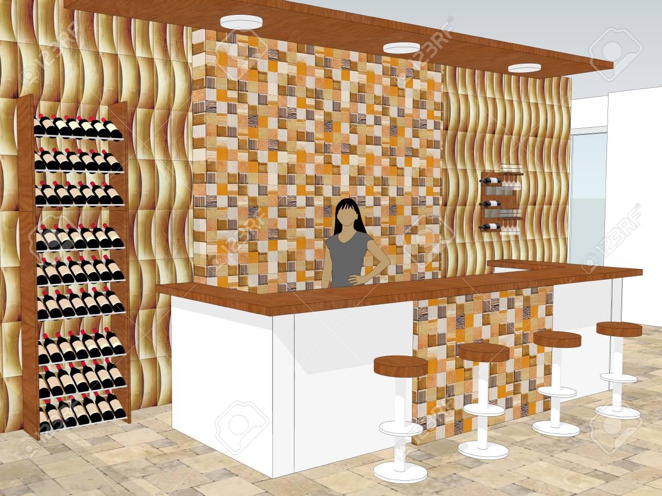 Vue De Bar Cafe Est Debout Dans Un Magasin Avec Des Meubles De Bureau En Bois Dans Le Fond Illustration 3d