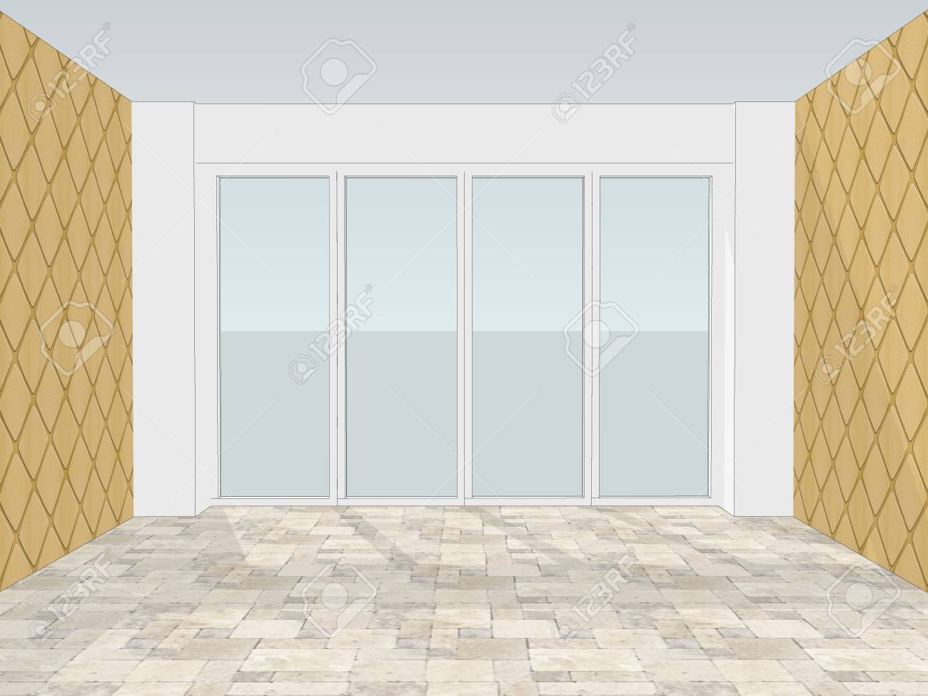 Empty Office Room With Window And Decorative Wallpaper On The ...