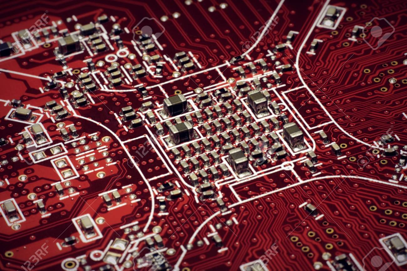 Red Circuit Board The Cpu Underview On A Royalty Free Image Of Background From Close Up Colour Stock Photo