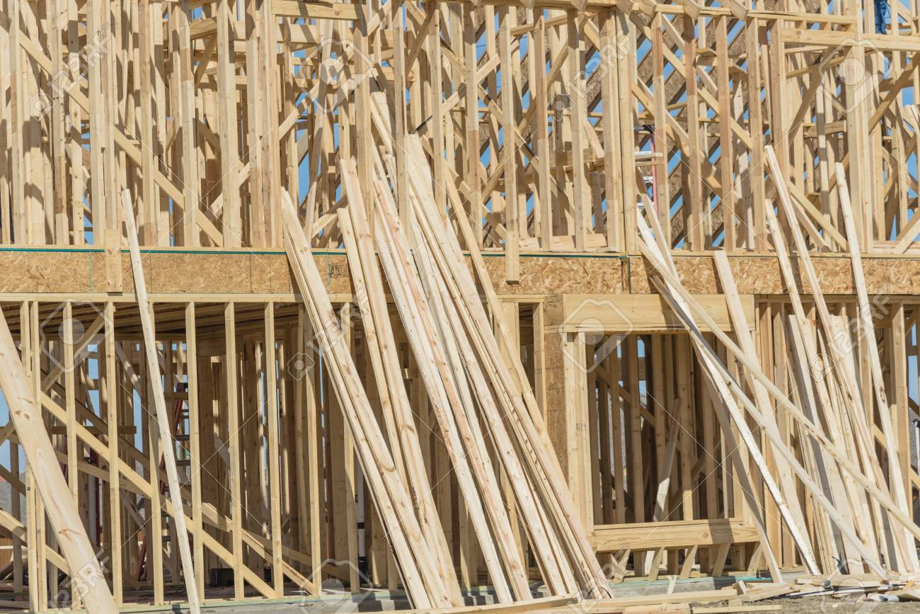 Close-up wooden frame house under construction in Irving, Texas,