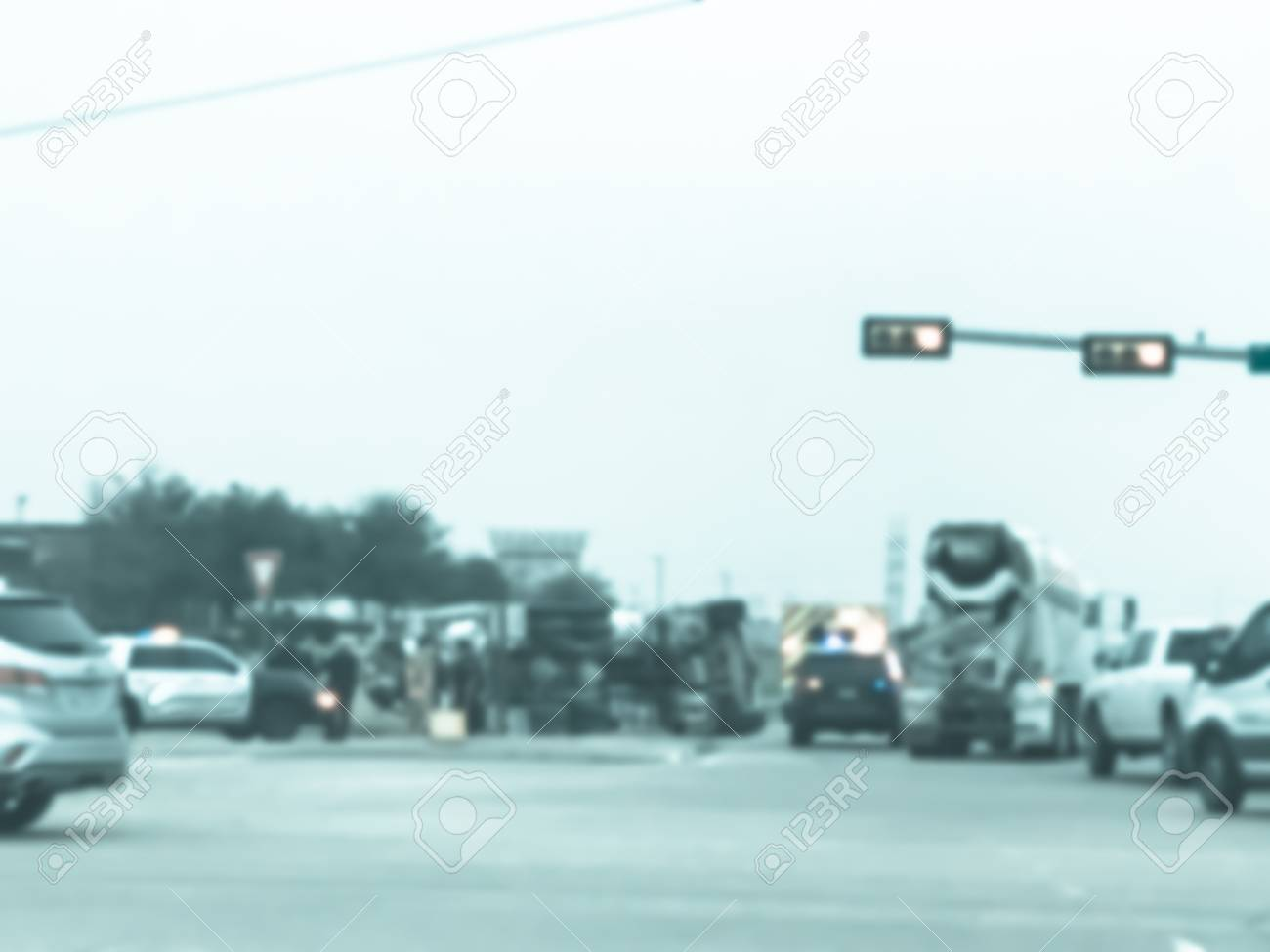 Vintage tone blurred abstract dramatic car accident at street