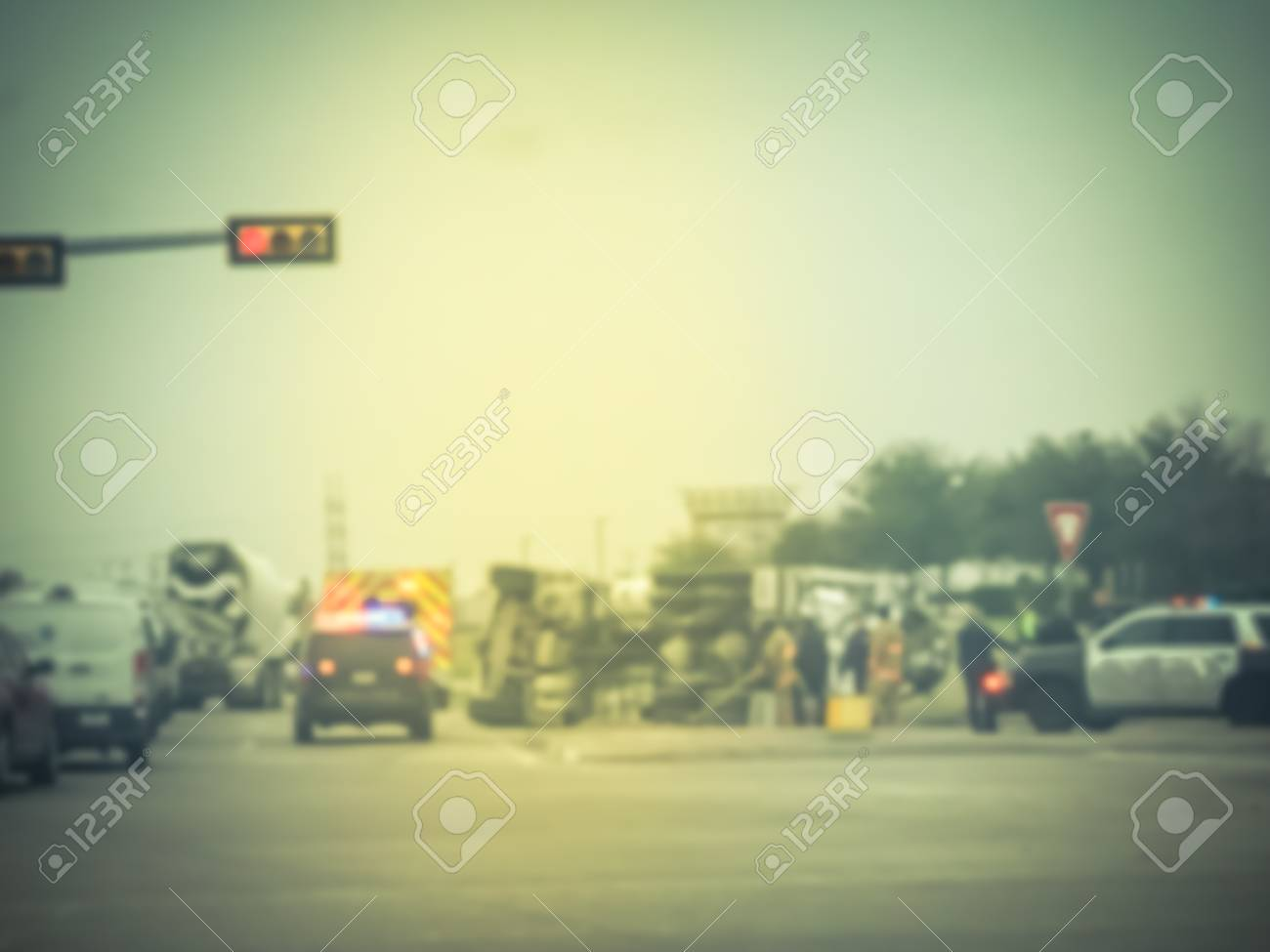Blurred abstract dramatic car accident at street intersection