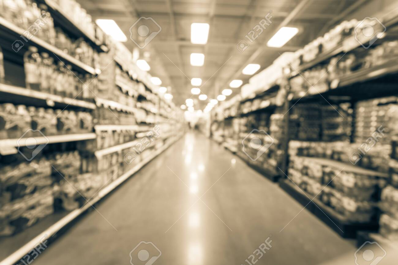 Filtered image blurry background variety of canned foods on shelf at American supermarket - 123153147