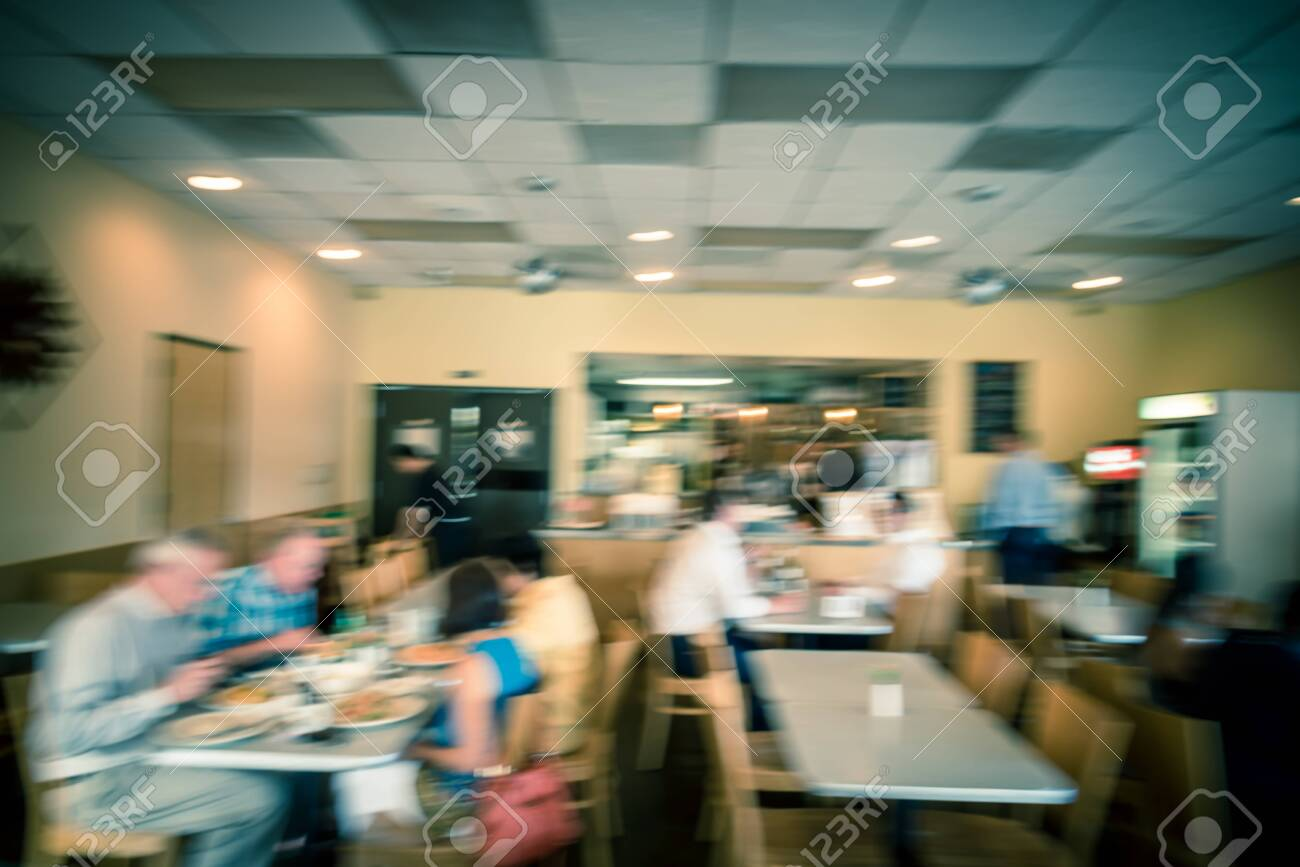 Blurry Background Compact Thai Restaurant Cafe In Downtown Houston