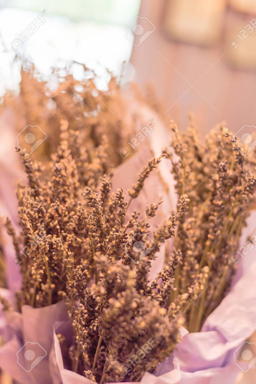 Dried lavender bouquet at local shop in Gainesville, Texas, America