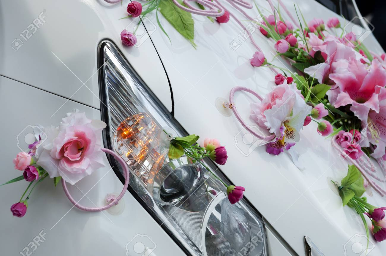 Wedding Car Decoration With Flowers Stock Photo Picture And Royalty