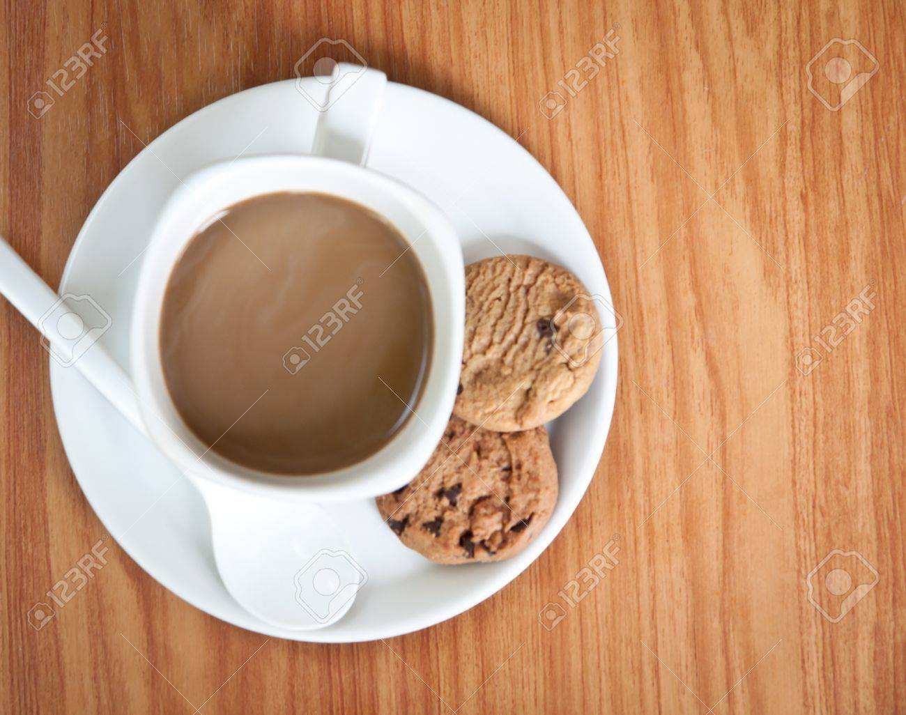 Cookie Coffee Cups Coffee Cup With Cookie On Wood Table Stock Photo Picture And