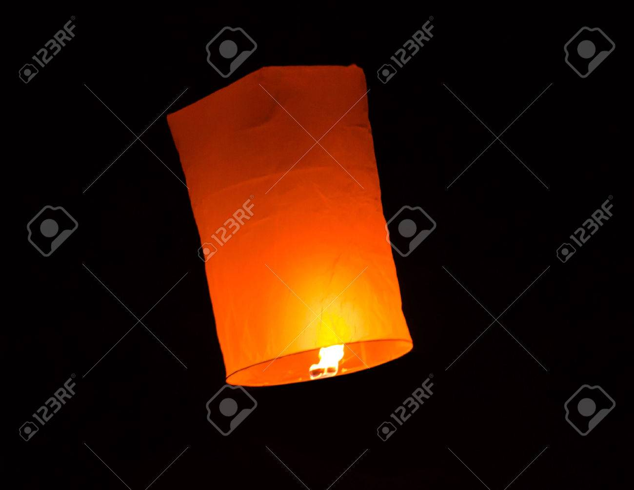 Floating lantern in Yee Peng festival, Buddhist floating lanterns to the Buddha in Sansai district, Chiang Mai, Thailand. - 23770802