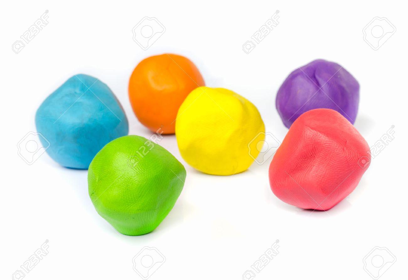 Ball of plasticine on white background - 29250378