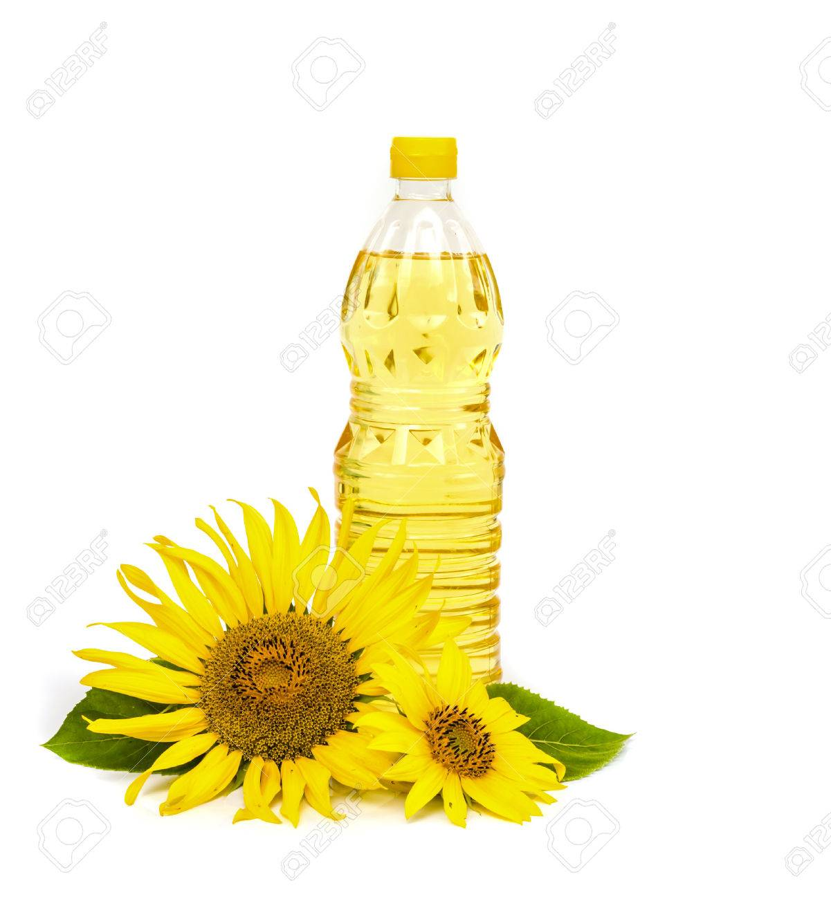 Bottle of sunflower oil with sunflower isolated on white background. - 41294877
