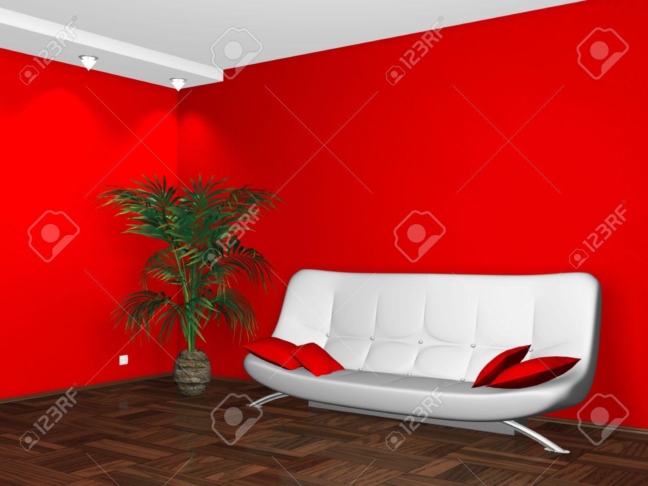 Interieur Design Moderne Witte Luie Stoel Op Rode Muur Achtergrond ...