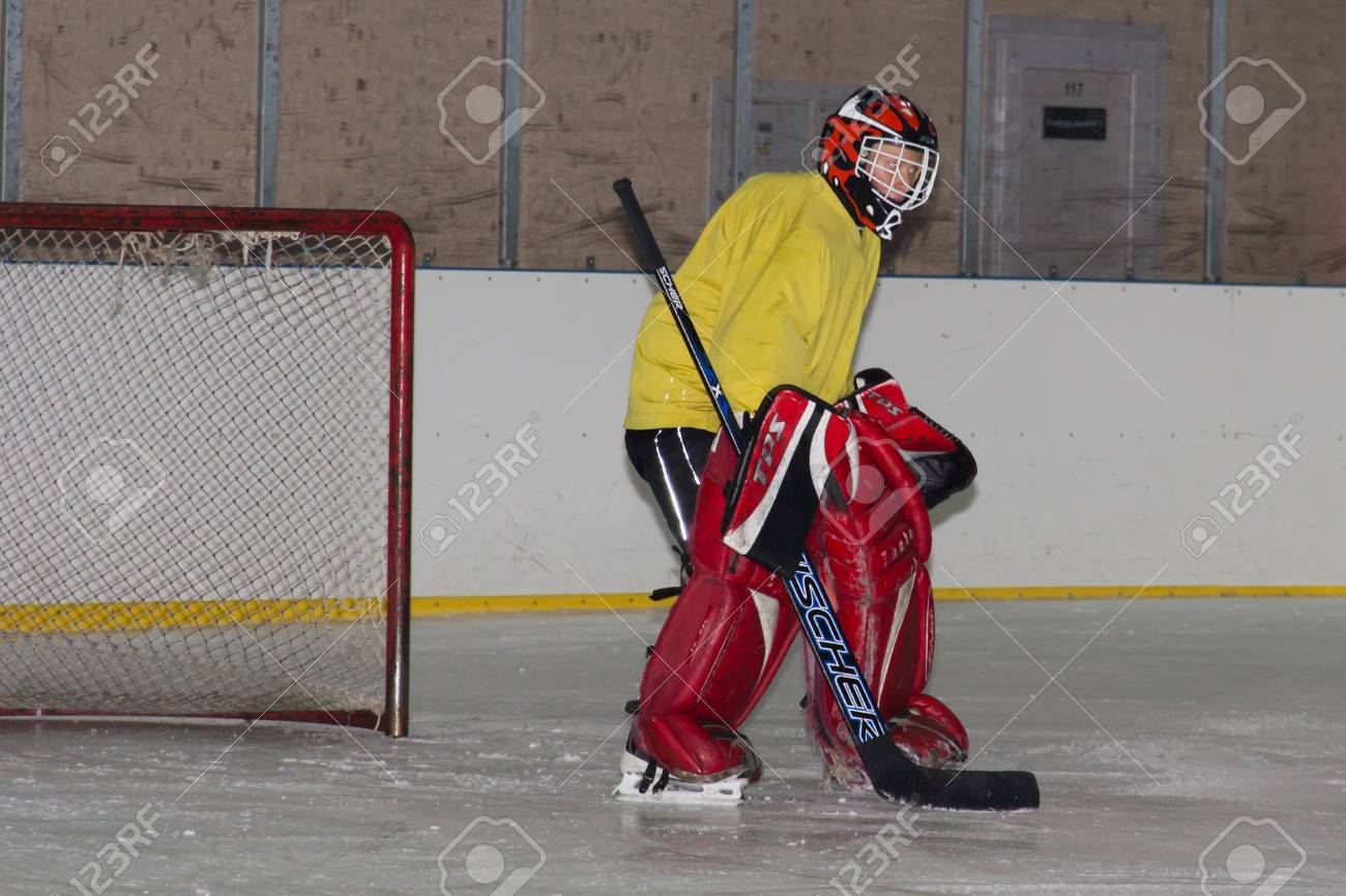 Ice Hockey Goalie Training Stock Photo Picture And Royalty Free