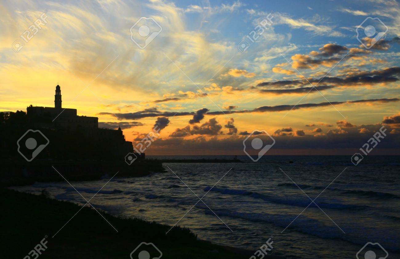 View of the Jaffa Port, Israel. Sunset. Stock Photo - 18844455