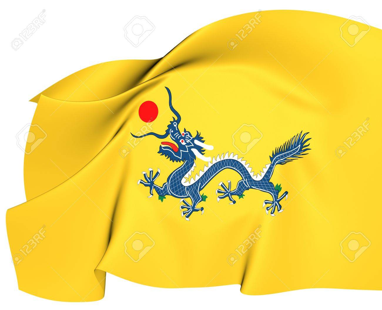 flag of qing dynasty close up stock photo picture and royalty