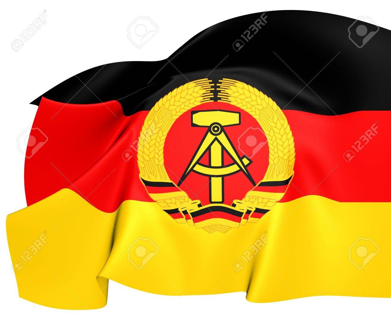 ドイツ民主共和国の旗。クローズ...