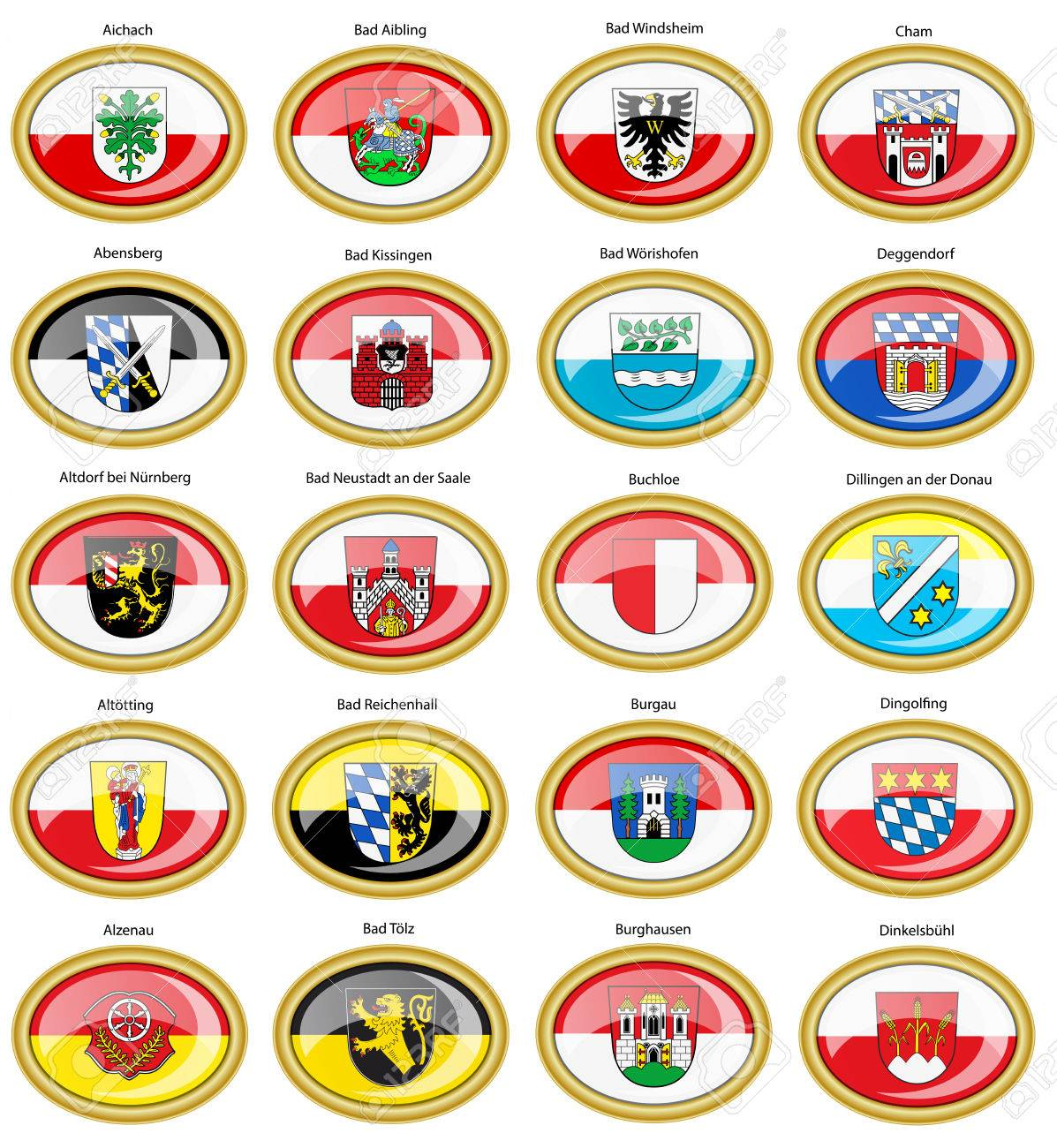 Set Of Icons Flags Of German Cities Bavaria Vector 3d