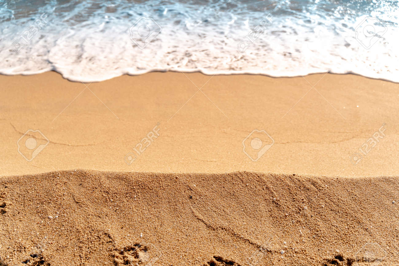 Minimal composition of sand and sea water. Aerial view. Copy space. Background for summer travel - 140365038