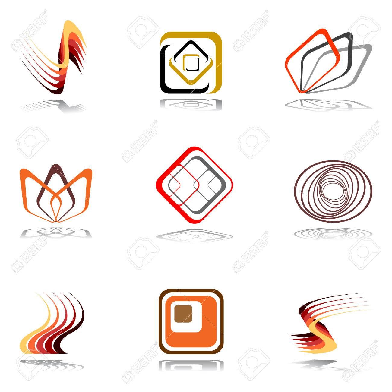 Design elements in warm colors. Set 15. Stock Vector - 7019590