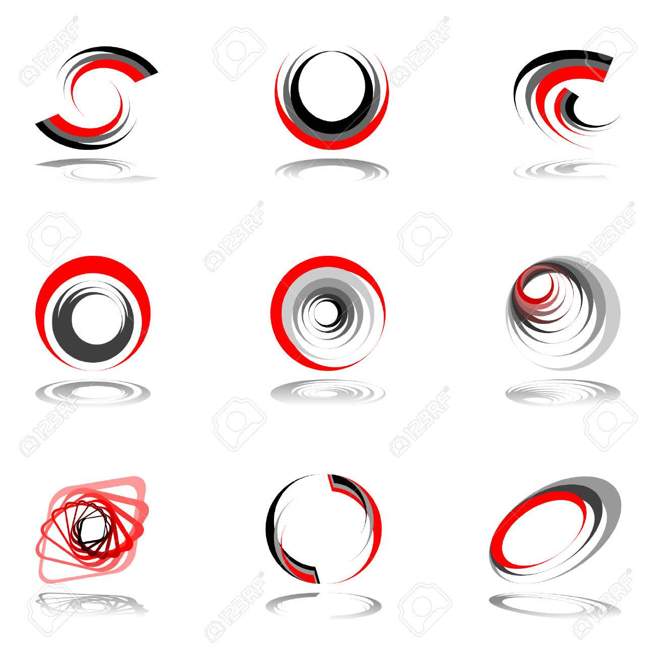 Design elements in red-grey colors. Vector illustration. Stock Vector - 7363452