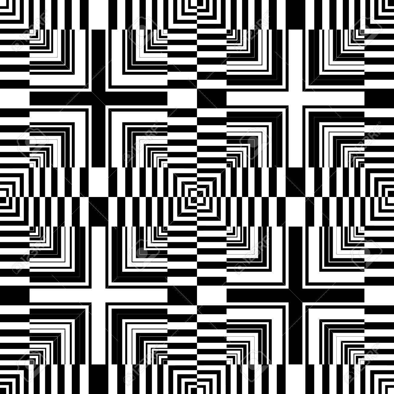 Seamless op art pattern. Abstract geometric design. Vector art. Stock Vector - 12183410