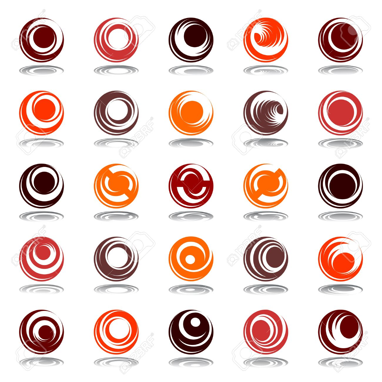 Movement and rotation in circle shape. Design elements set in warm colors. Vector art. - 12927330