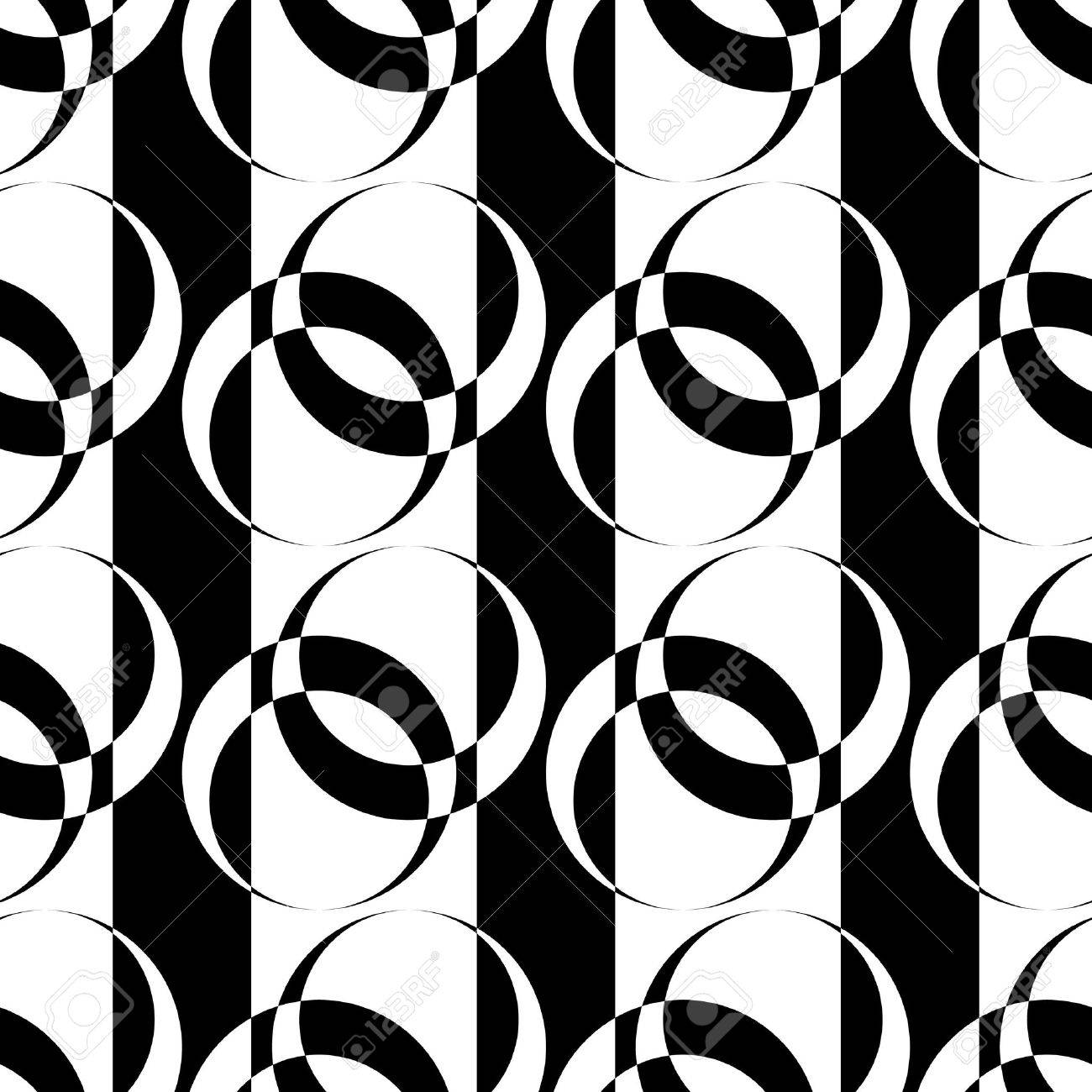 Seamless pattern with circle elements on striped texture. Vector art. - 13023050