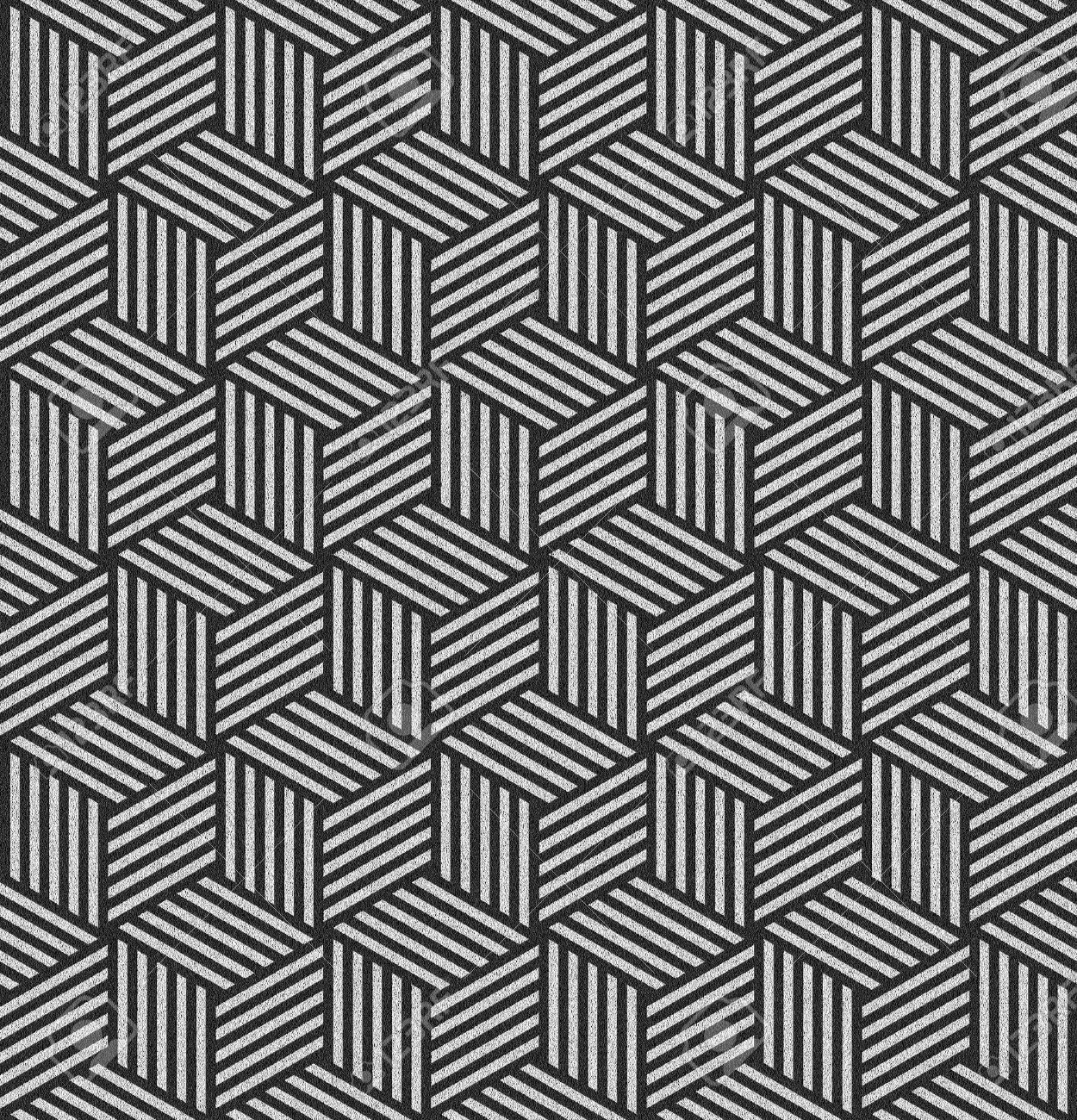 Seamless pattern in op art design. Geometric hexagons and diamonds texture. Abstract textured background. Illustration. Stock Illustration - 14497547