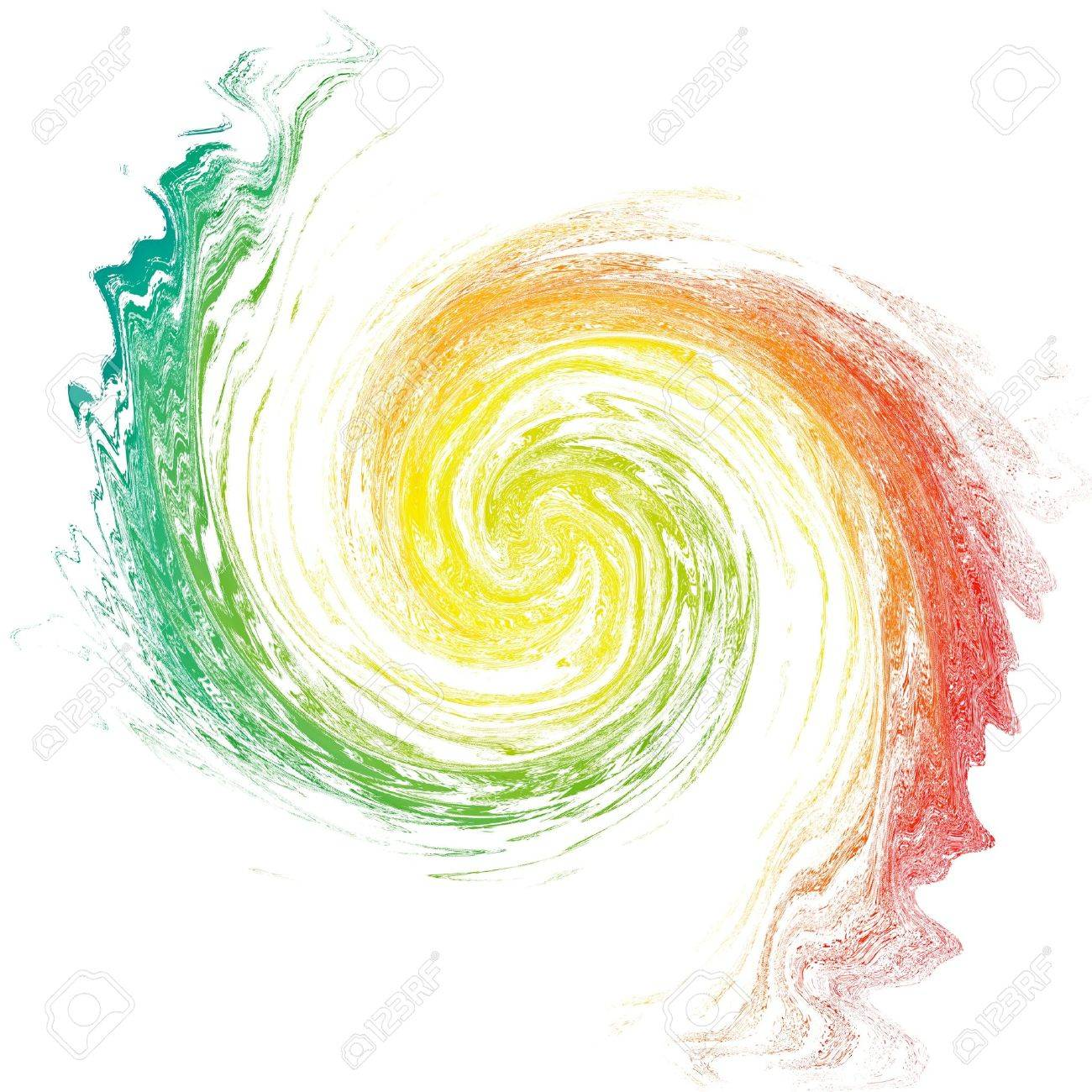 Multicolor vortex isolated on white Abstract backdrop Illustration - 14658256