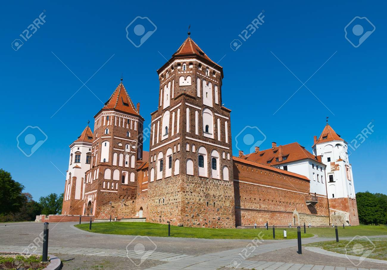 Medieval Castle In Gothic Style Mir Belarus Stock Photo