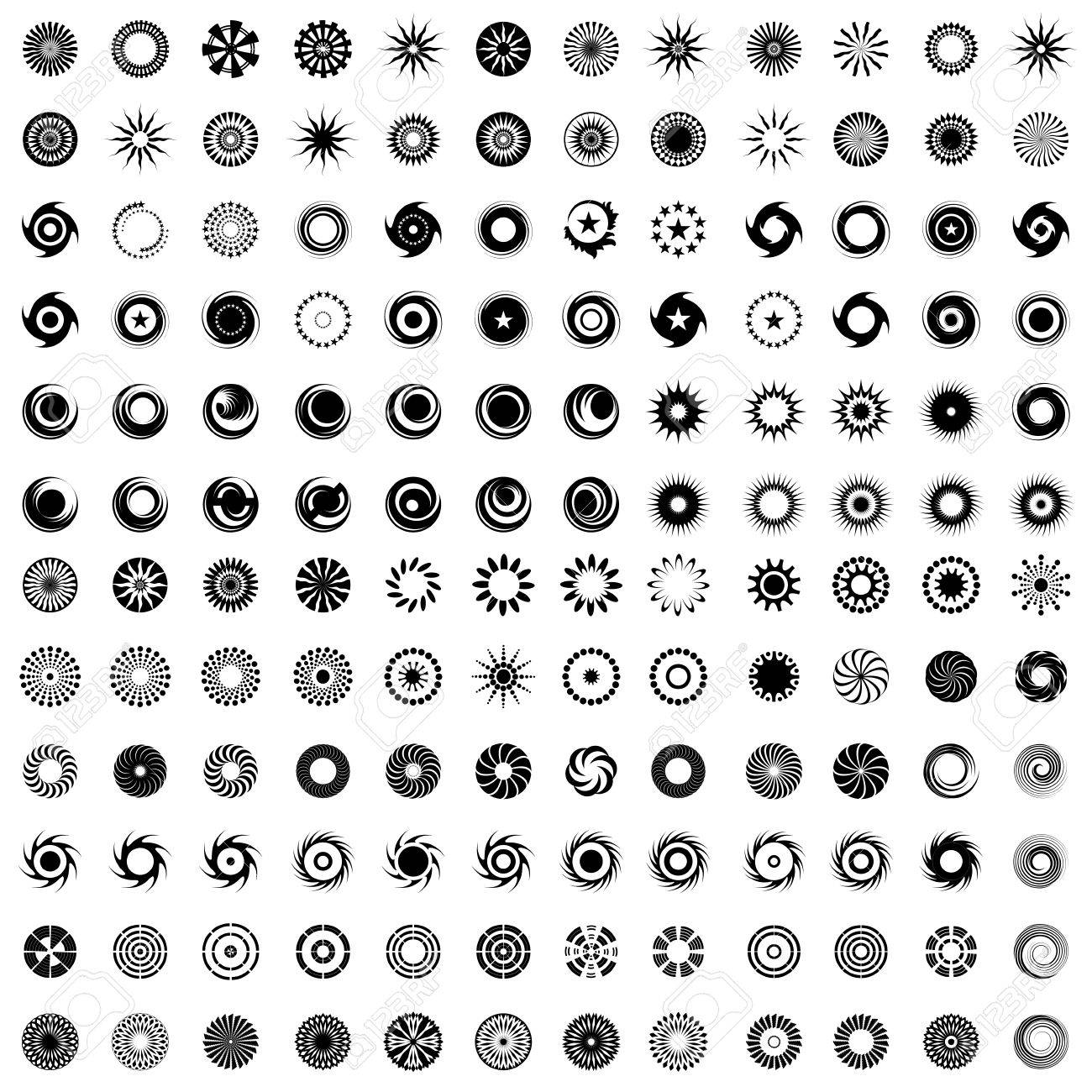 Design elements in circle shape. 144 abstract icons. Set. Vector art. - 35619508
